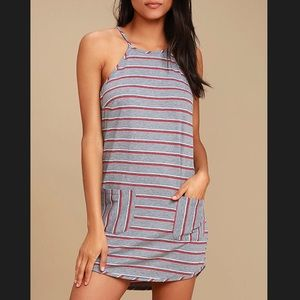 Lulus Lucy Love Gray Striped Dress